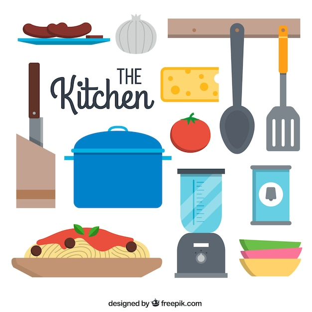 Colecci n plana de utensilios de cocina descargar for Utensilios de cocina nombres en ingles