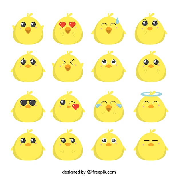 Colección plana de emoticonos de polluelo divertido Vector Premium