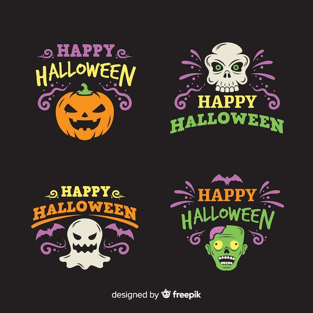 Colección plana de etiquetas de halloween vector gratuito