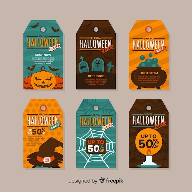 Colección plana de etiquetas de venta de halloween vector gratuito