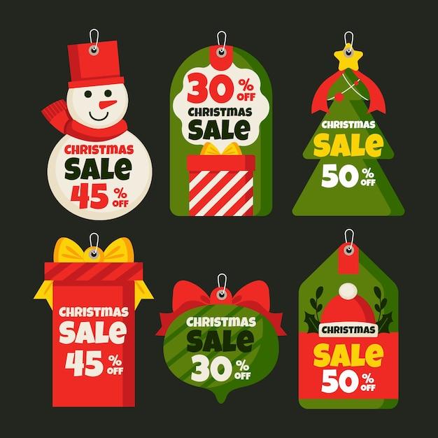 Colección plana de etiquetas de venta de navidad vector gratuito