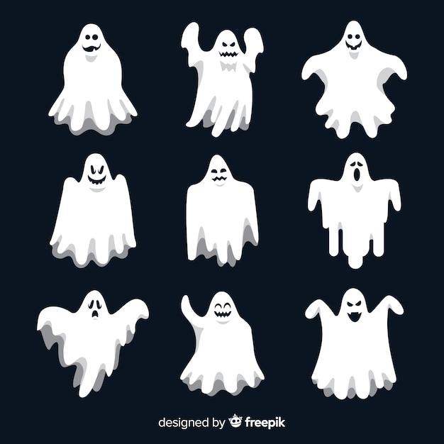 Colección plana de fantasmas de halloween vector gratuito
