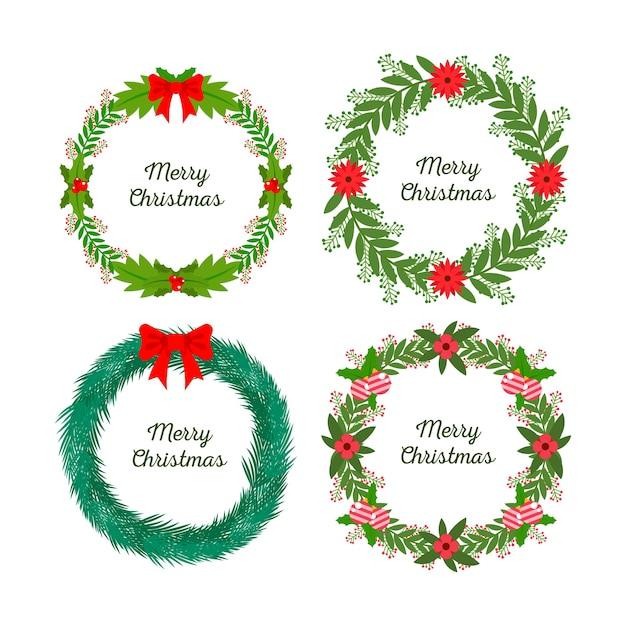 Colección plana de flores y guirnaldas navideñas vector gratuito