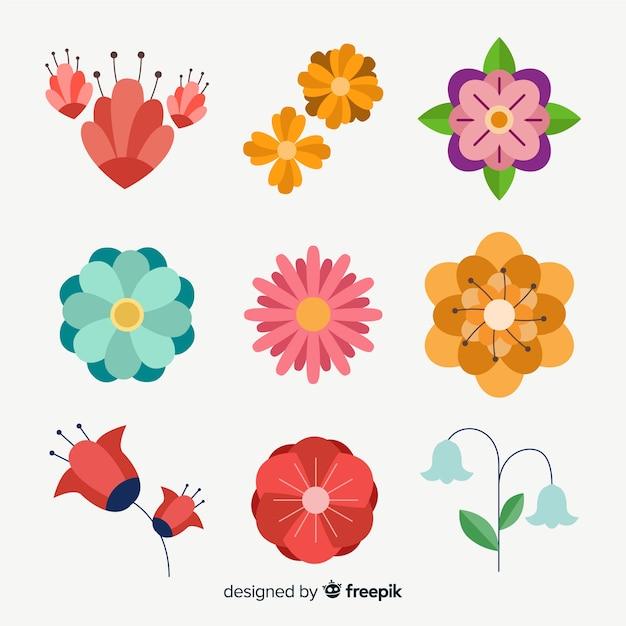 Colección plana de flores y hojas vector gratuito