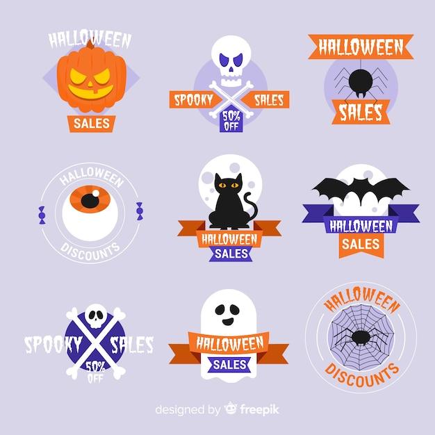 Colección plana de insignias de venta de halloween vector gratuito