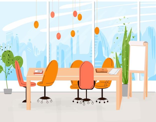 Colección plana de lugar de trabajo creativo con espacio abierto moderno e interior de oficina vacía - illustraton de co-trabajo empresarial y contemporáneo. composición horizontal plana. Vector Premium