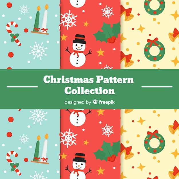 Colección plana de patrones de navidad vector gratuito