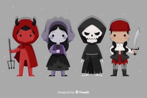 Colección plana de personajes de dibujos animados de halloween vector gratuito