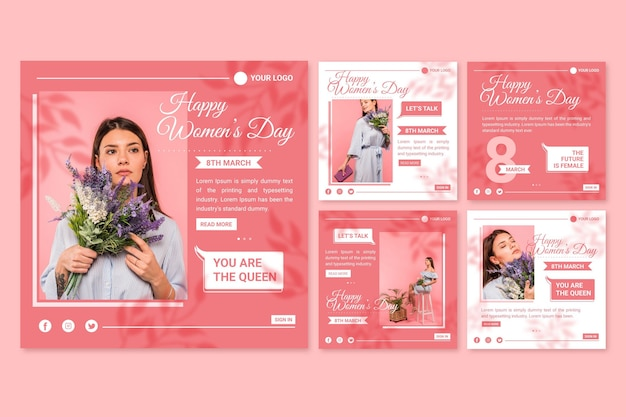 Colección plana de publicaciones de instagram del día internacional de la mujer vector gratuito