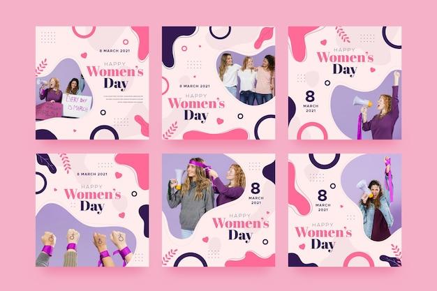 Colección plana de publicaciones de instagram del día internacional de la mujer Vector Premium