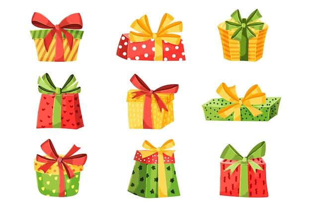Colección plana de regalos de navidad vector gratuito