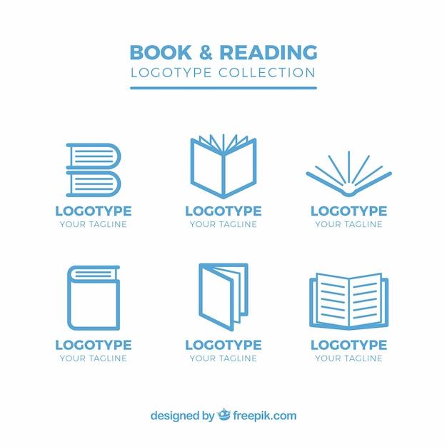 Colección plana de seis logotipos con libros Vector Premium
