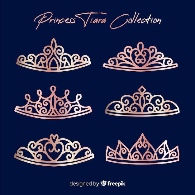 Colección plana tiaras oro rosa vector gratuito