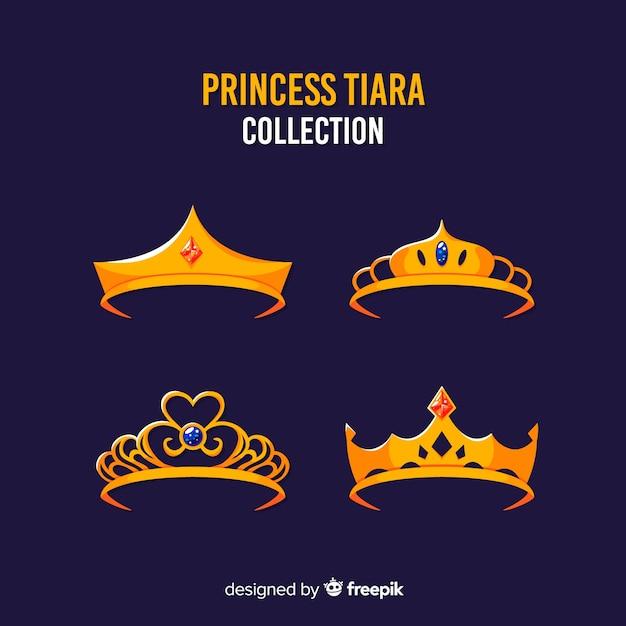 Colección plana tiaras de princesa de oro vector gratuito
