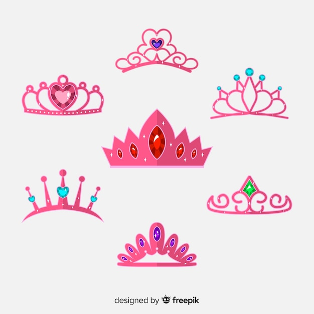 Colección plana tiaras de princesa rosa vector gratuito