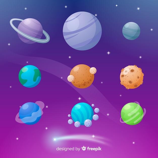 Colección de planetas coloridos en diseño plano vector gratuito