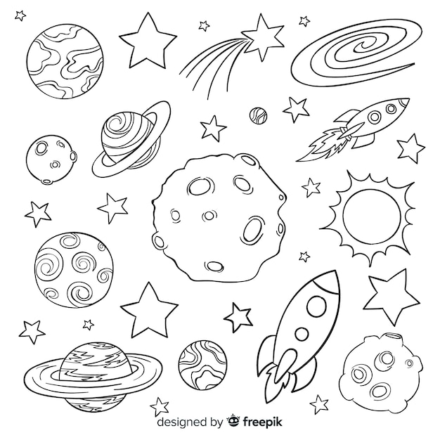 Colección de planetas dibujados a mano en estilo doodle vector gratuito
