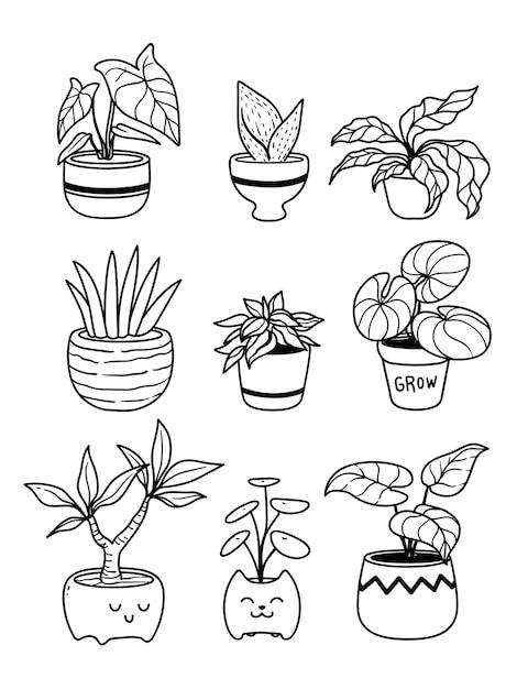 Colección de plantas en macetas aislado en blanco Vector Premium