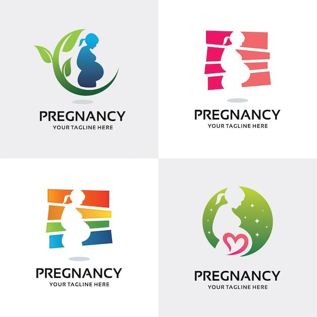 Colección de plantilla de diseño conjunto de logotipo de mujer embarazada Vector Premium