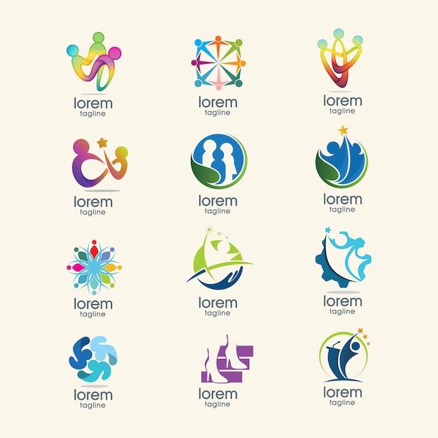Colección de plantilla de logos abstractos vector gratuito
