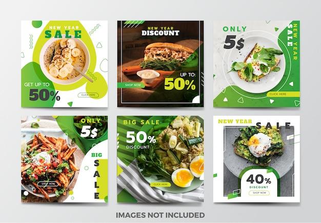 Colección de plantillas de banner de redes sociales de alimentos Vector Premium