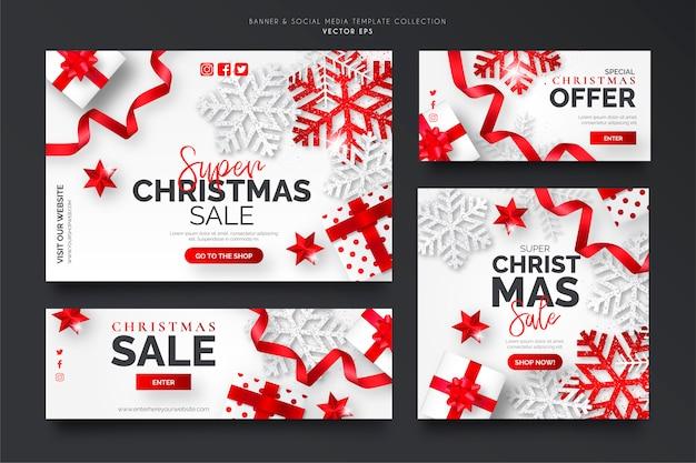 Colección de plantillas de banner de venta de navidad blanca y roja vector gratuito