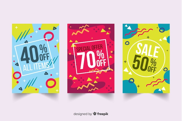 Colección de plantillas de banners de rebajas estilo memphis vector gratuito