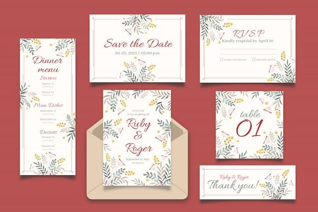 Colección de plantillas de boda Vector Premium