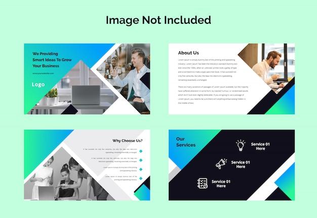 Colección de plantillas de diapositivas de presentación de powerpoint para empresas Vector Premium