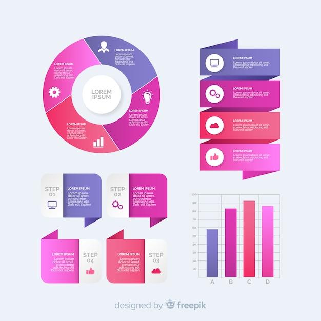 Colección de plantillas de elementos de infografía con degradado vector gratuito