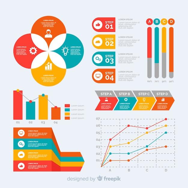 Colección de plantillas de elementos de infografía en diseño plano vector gratuito