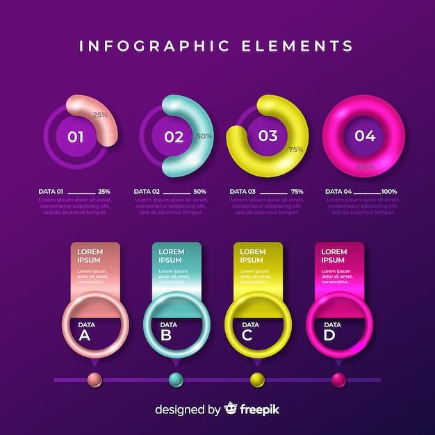 Colección de plantillas de elementos de infografías coloridos vector gratuito
