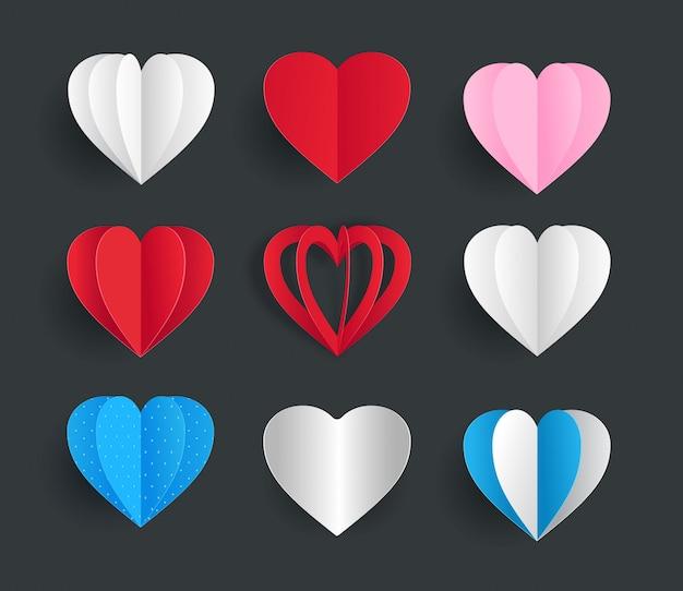 Colección de plantillas de elementos de papel lindo corazones vector Vector Premium