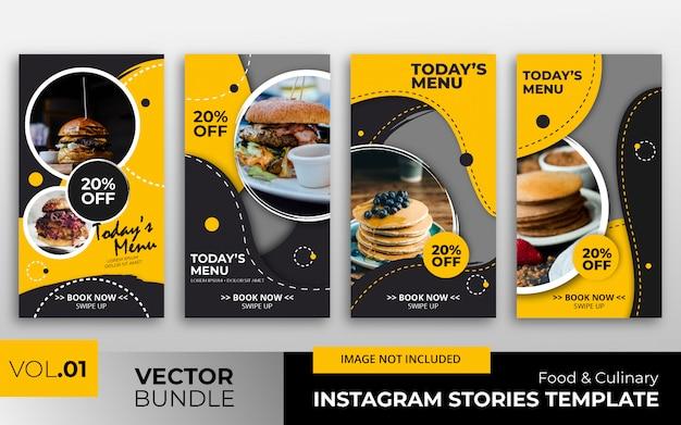 Colección de plantillas de historias de instagram de alimentos Vector Premium