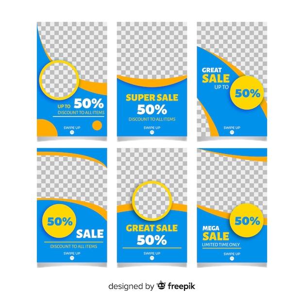Colección de plantillas de historias de venta de instagram. vector gratuito