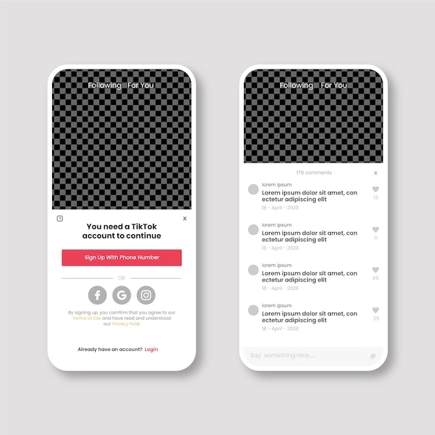 Colección de plantillas de interfaz tiktok vector gratuito