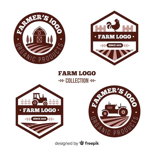 Colección de plantillas de logo de granja en diseño plano vector gratuito