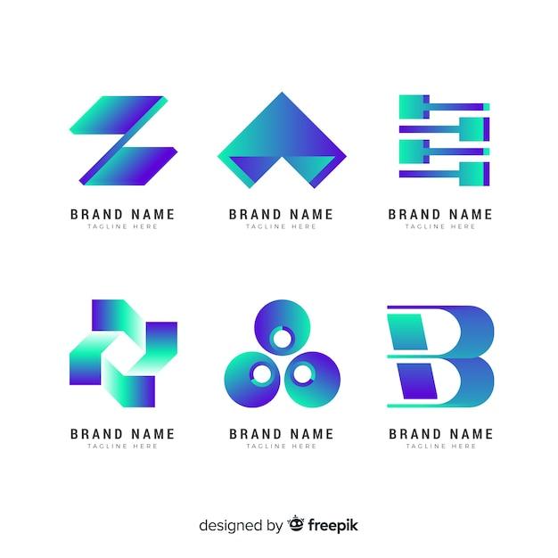 Colección de plantillas de logo de tecnología con degradado vector gratuito
