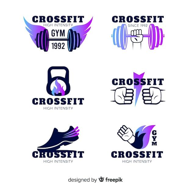 Colección de plantillas de logos de crossfit con degradado vector gratuito