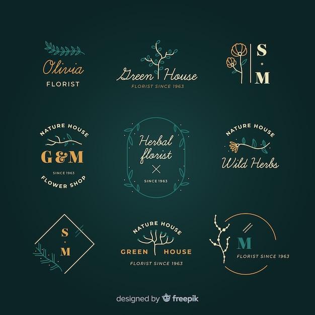 Colección de plantillas de logos florales de boda vector gratuito