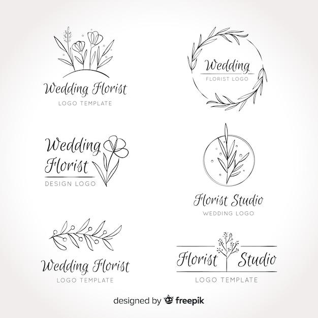 Colección de plantillas de logos floristas de boda vector gratuito