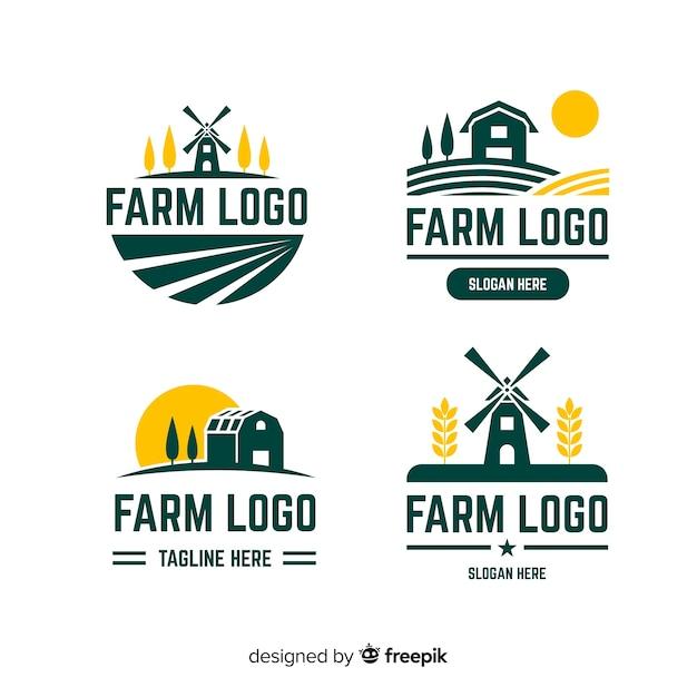 Colección de plantillas de logos de granja en diseño plano vector gratuito