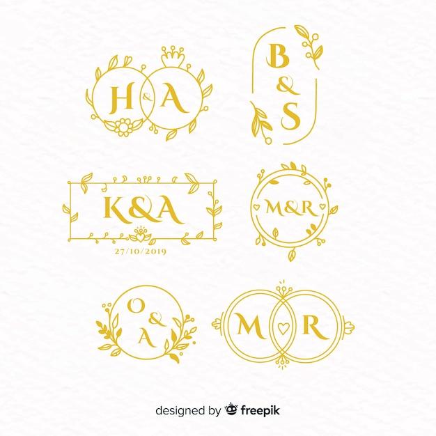 Colección de plantillas de logos monogramas de boda vector gratuito