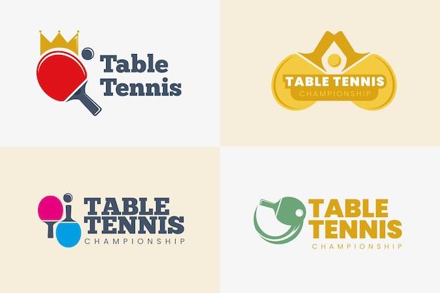 Colección de plantillas de logos de tenis de mesa Vector Premium