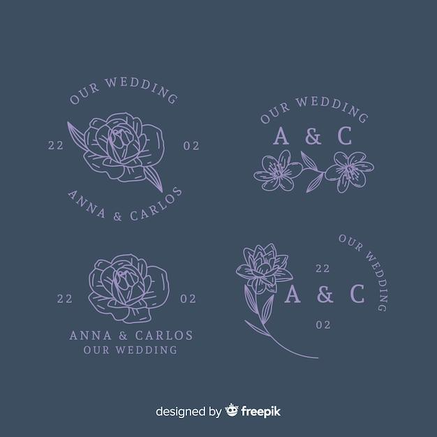 Colección de plantillas de logotipo de floristería de boda vector gratuito