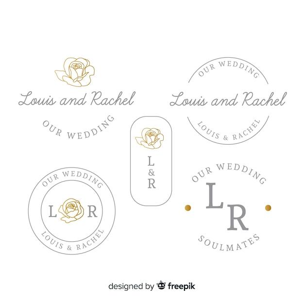 Colección de plantillas de logotipo monograma de boda vector gratuito