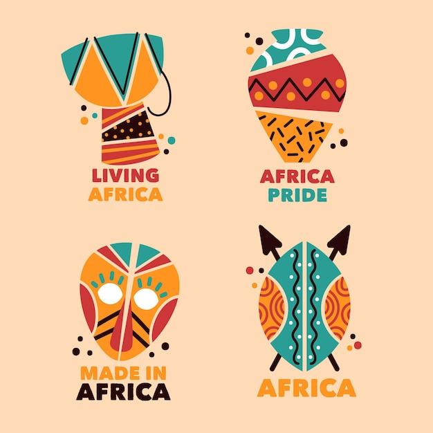 Colección de plantillas de logotipos de áfrica Vector Premium