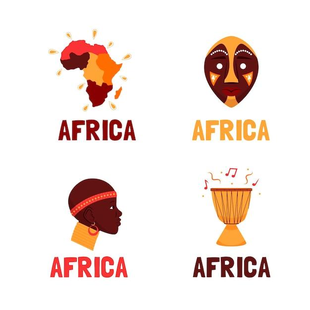 Colección de plantillas de logotipos de áfrica vector gratuito