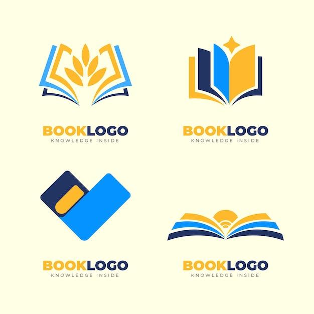 Colección de plantillas de logotipos de libros planos vector gratuito