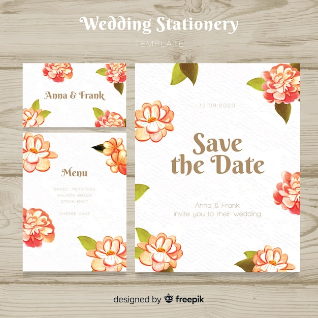 Colección de plantillas de material de papelería de boda en acuarela vector gratuito